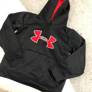Under armour black & red hoodie sz. Youth small